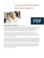 Rajiv Gandhi Sent Troops to Sri Lanka Without Consulting Cabinet, Natwar Singh Says