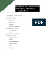 Guía para estructurar los contenidos en la Escuela Virtual De Ciencias Eclesiásticas