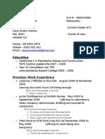 Resume of Shaun m