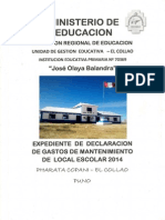 Informe de Mantenimiento de Local Escolar 2014 - Iep. 7369 - Pharata Copani - El Collao - Puno
