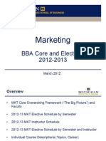 BBA Core and Electives MKT 2012-13