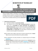 Candidates Selected to Join Ordinary Diploma Programmes 2014-2015