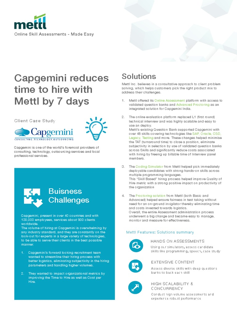 Capgemini Case Study | Educational Assessment | Scalability