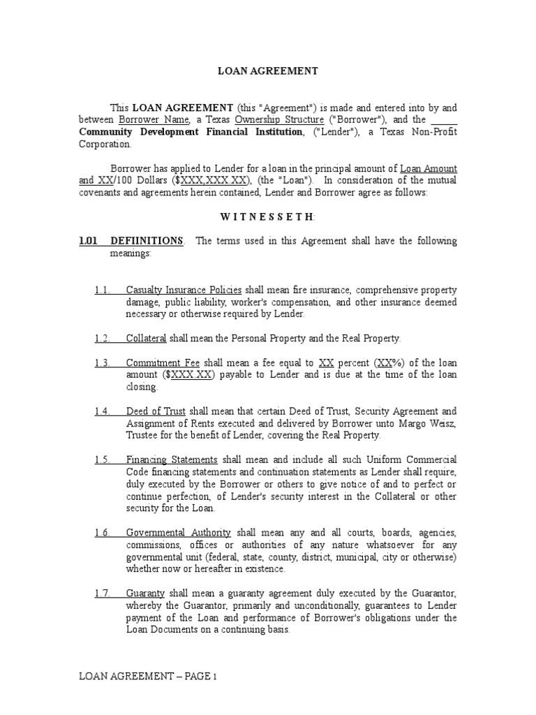 Loan Agreement Loans Interest
