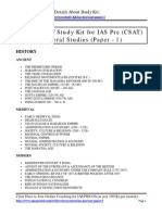 Contents of Study Kit Paper 1 for IAS Pre