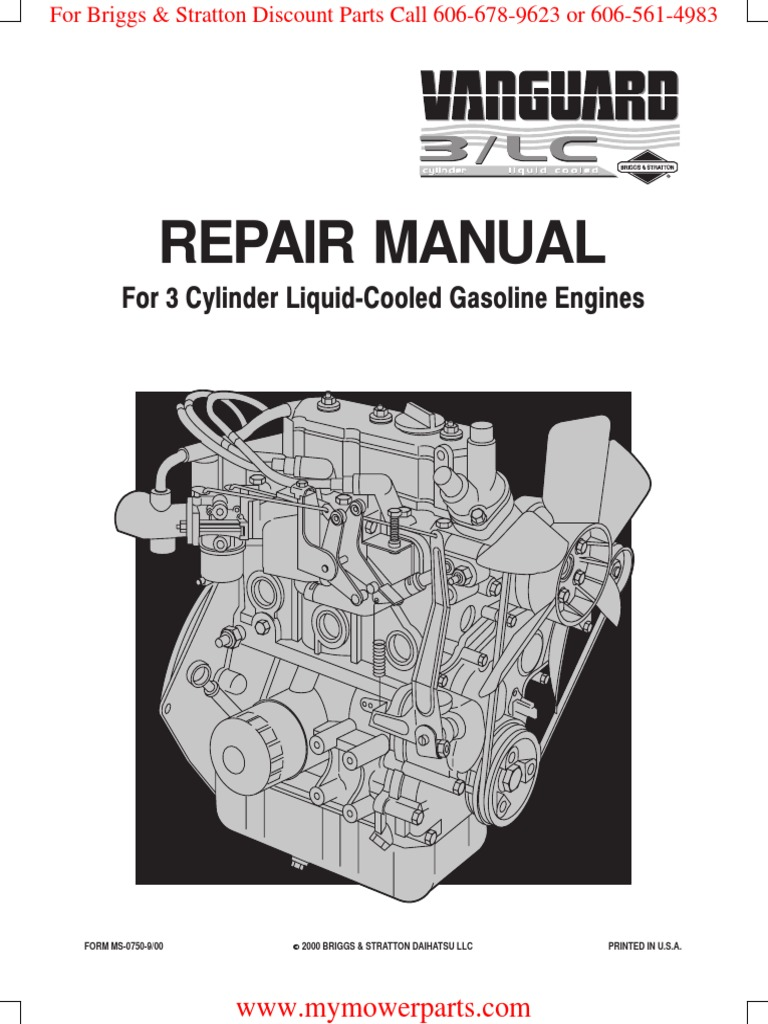 ms0750 vanguard 3 cylinder ohv lc gasoline briggs stratton rh scribd com Vanguard Daihatsu DM950D Dealers vanguard daihatsu dm950g service manual