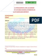 Emotional Intelligence and Academic Achievement of High School Students in Kanyakumari District