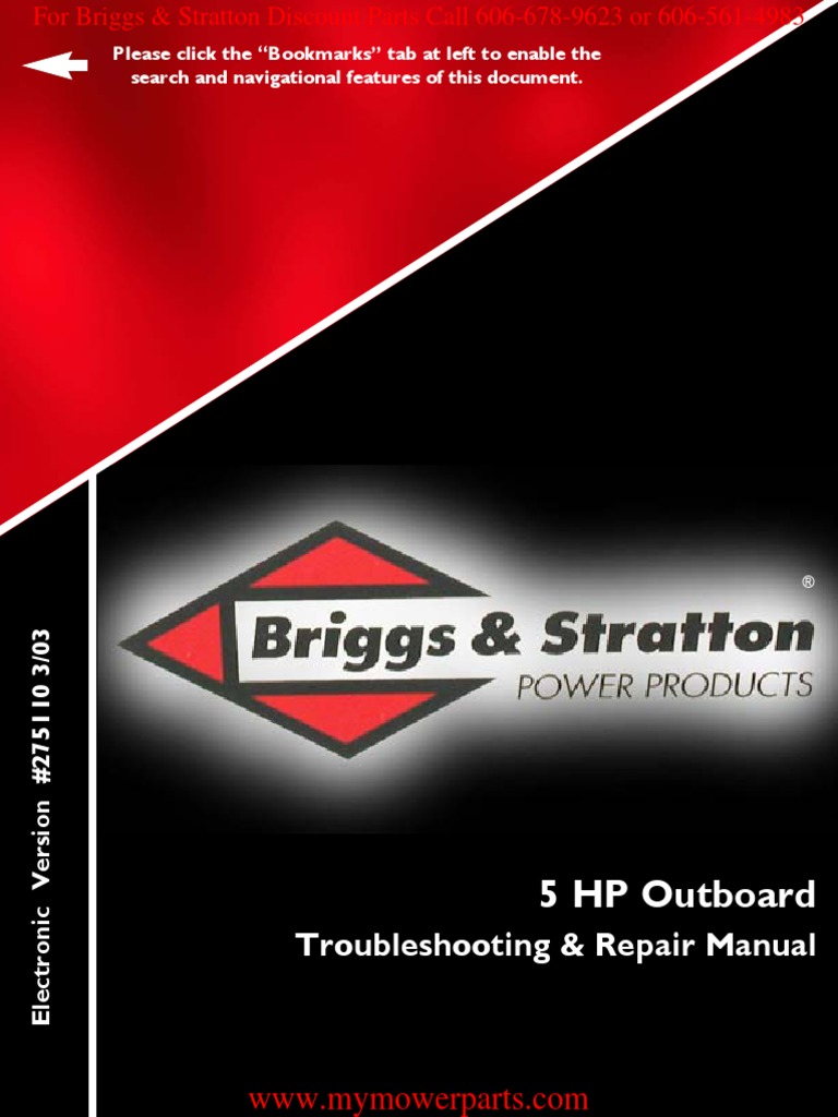 outboard repair manual e book 275110 briggs stratton carburetor rh scribd com
