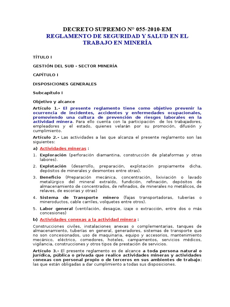 Ley DS - 055 - Reglamento de Seguridad y Salud en El Trabajo en Mineria