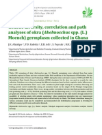 Genetic Diversity, Correlation and Path Analyses of Okra (Abelmoschus Spp L.) Germplasm Collected in Ghana.