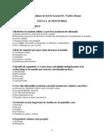Biologie - Teste Admitere 2014