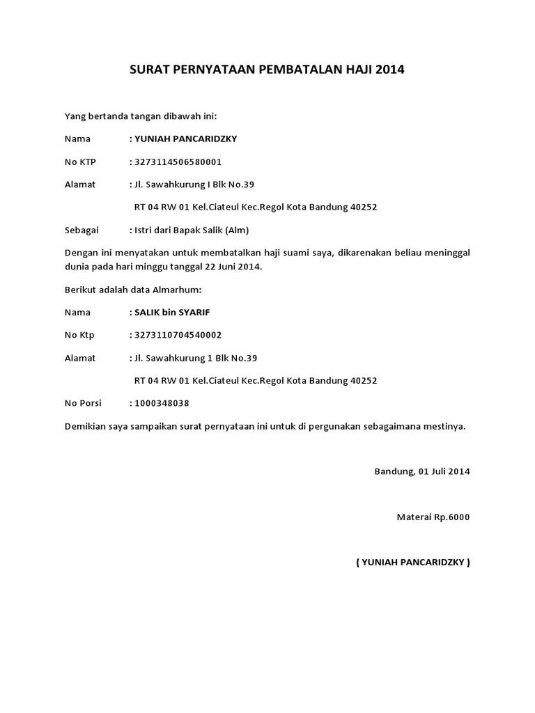 Contoh Surat Permohonan Pembatalan Haji