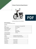 2010 Honda EX5 Dream Technical Specification