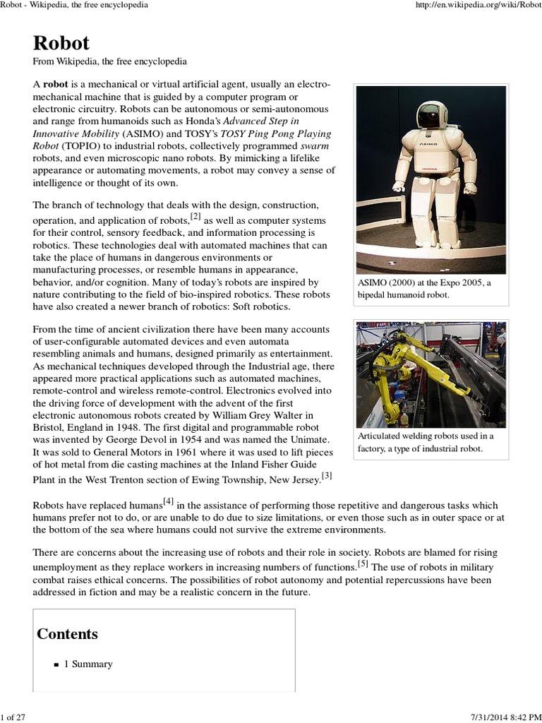 robot wikipedia technology robot rh scribd com Manual Handling Hazard Symbol Manual Handling at Work