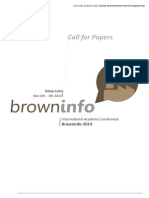 BrownInfo 2014 Call for Papers BanjaLuka 6th and 7th November