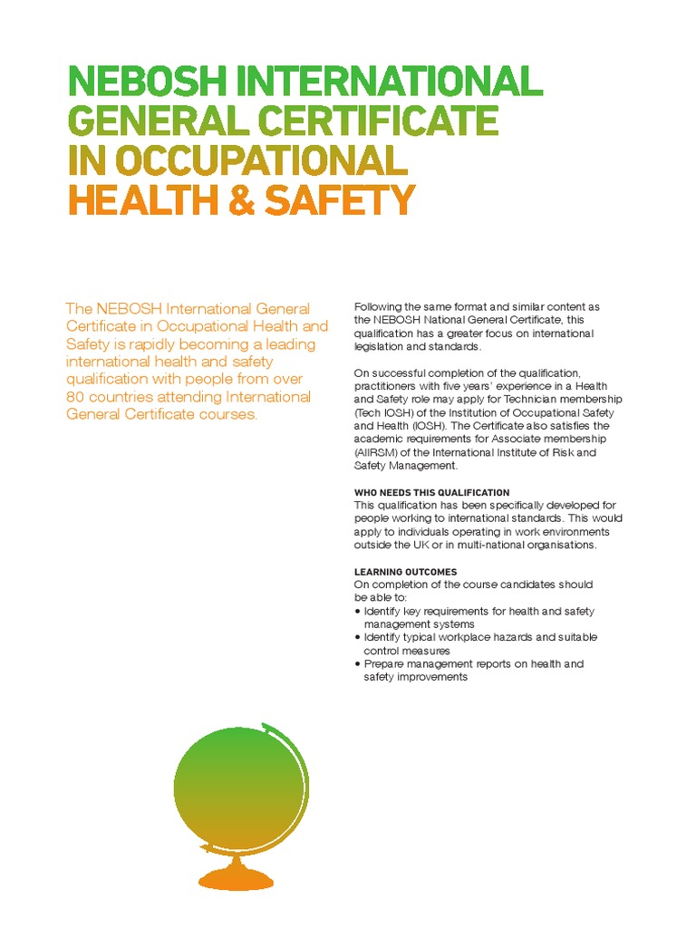 NEBOSH International General Certificate Brochure   Occupational Safety And  Health   Safety