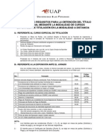 Requisitos Detallados Para Titulo Por Curso de Titulación Nacionaln