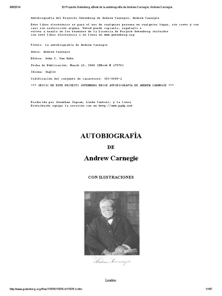 El Proyecto Gutenberg eBook de La Autobiografía de Andrew Carnegie ...