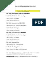 CALENDARIO DE EXÁMENES ESPAD 2009
