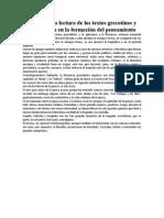 Análisis de La Lectura de Los Textos Grecotinos y Su Influencia en La Formación Del Pensamiento