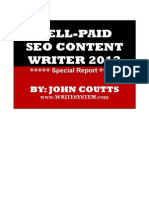 Well-Paid SEO Content Writer 2013