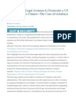 Road Map II Legal Avenues to Prosecute a US Citizen for War Crimes—the Case of Gotabaya Rajapaksa