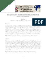 ELIAS, Denise. Relações Campo e Cidade, Reestruturação Urbana e Regional No Brasil.