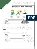 Worksheet Superlatives & Comparative