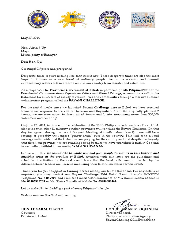 Letter for culmination for an activity philippines volunteering stopboris Images