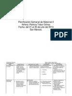 Planificación Semanal de Maternal II Del 21 Al 25 de Julio Del 2014