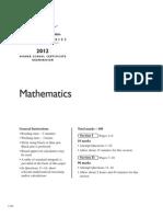 2012 HSC Examination Mathematics