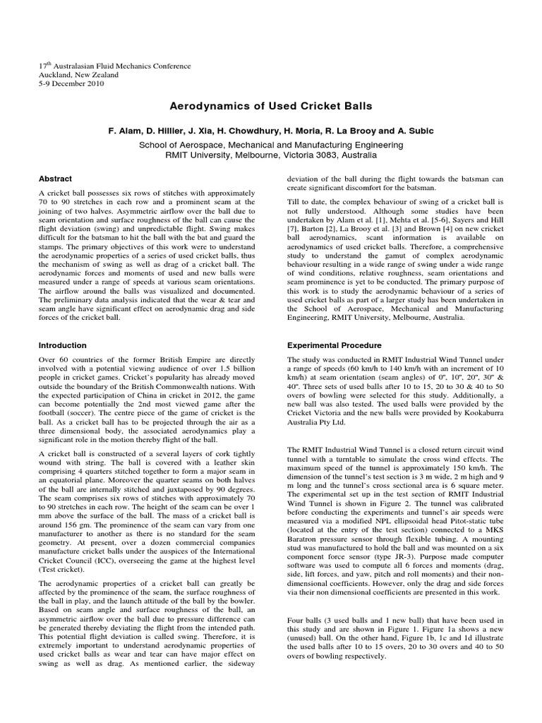 Cricket Ball Aerodynamics Boundary Layer Applied And