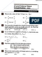 NSTSE 2012 Question Paper for Class 10