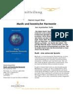 Musik und kosmische Harmonie von Hazrat Inayat Khan - Pressemitteilung