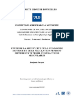 Etude de La Specificite de La Commande Motrice Et de Sa Regulation Pendant Differents Types de Contractions Musculaires