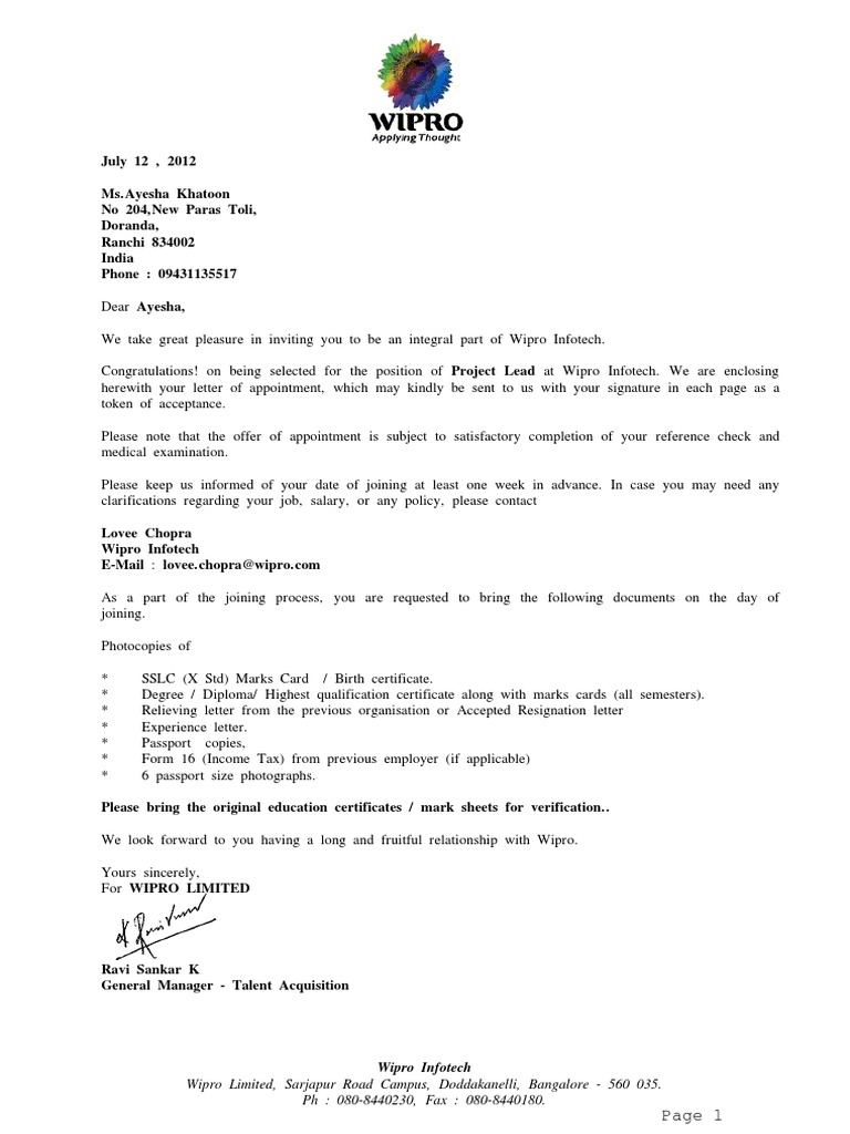 Sample Offer Letter Of Employment India
