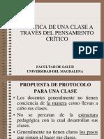PROTOCOLO DE UNA CLASE A TRAVÉS DEL PENSAMIENTO CRÍTICO