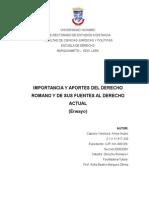 Capraro Khrys.- Importancia y Aportes Del Derecho Romano y de Sus Fuentes en El Derecho Actual.