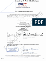 2008 DNC Presidential Nomination Certificate Without Constitutionally Eligible Provision - Georgia