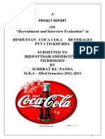 Resruitment Amp Interview Evaluatio in Hindustan Coca-cola Beverages Pvt.ltd.