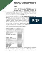 Informe de Asistencia Al v Congreso Internacional de Odontología Organizado Por La Universidad Nacional de Trujillo