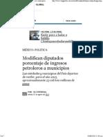 02-08-14 Modifican Diputados Porcentaje de Ingresos Petroleros a Municipios