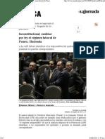 02-08-14 Inconstitucional, cambiar por ley el régimen laboral de Pemex