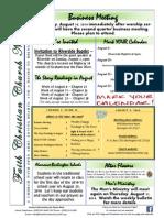 Faith Christian Church Burlington NC August 2014 News