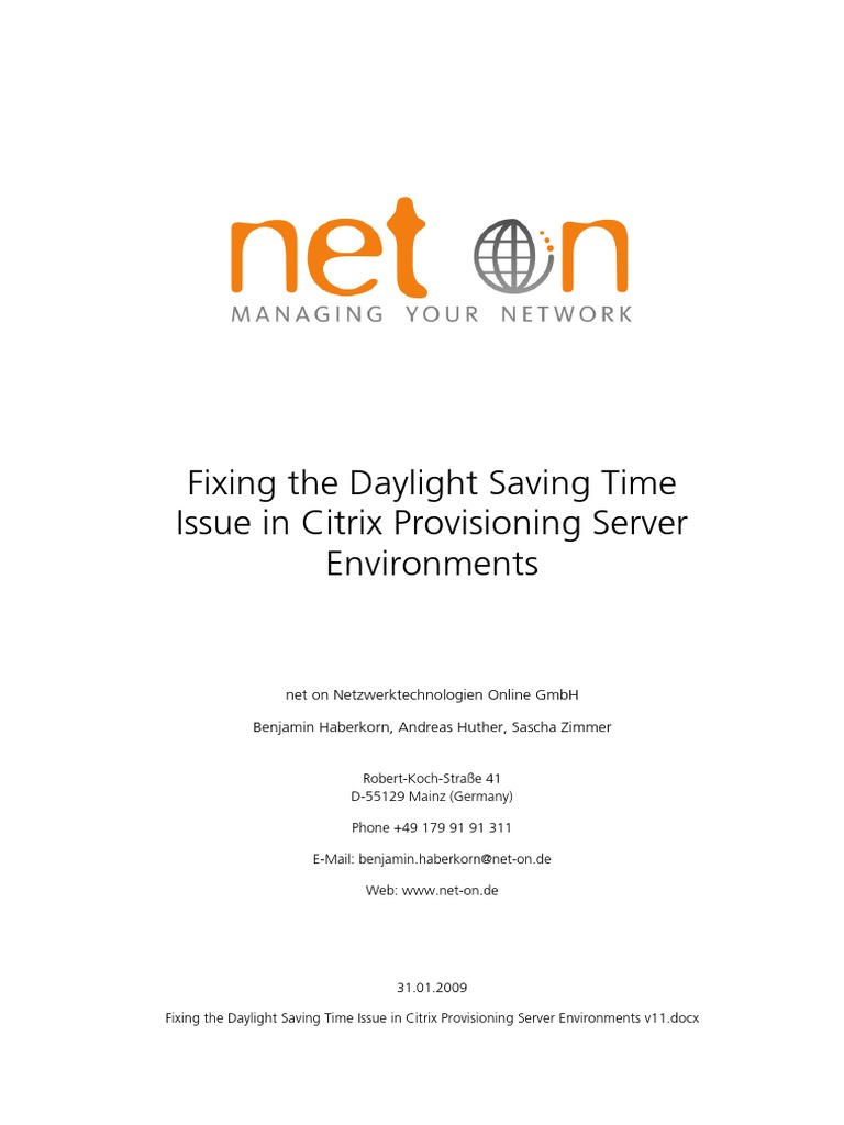 PVS Timezone Issue v1 | Group Policy | Daylight Saving Time