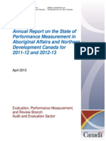 AANDC...Annual Report on the State of Performance Measurement in Aboriginal Affairs...for 2011-12 and 2012-13