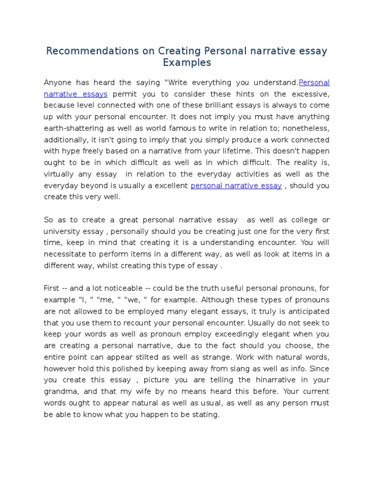 Recommendations On Creating Personal Narrative Essay Examples  Recommendations On Creating Personal Narrative Essay Examples  Essays   Cognitive Science