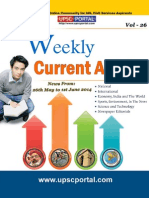 Weekly Current Affairs Update for IAS Exam Vol 26 26th May 2014 to 1st June 2014