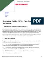 Restriction Orifice (RO) - Flow Control Instrument