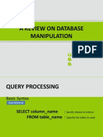 A Review on Database Manipulation
